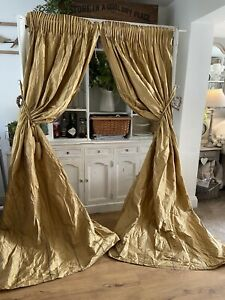 "LAURA ASHLEY SILK Antique Gold Black Stripe Curtains 102""D"