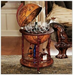 Vintage Wine Bar Antique Globe Drinks Minibar Trolley CabinetBlack Friday
