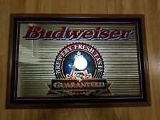 Rare Budweiser Brewery Frest Taste Guaranteed Framed Mirror Sign Man Cave Bar
