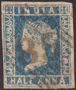 India 1854 QV ½a Blue Die I Used SG2 cat £40 with 4 margins Numeral 85 Postmark