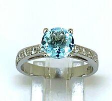 Ring  Blau Topas & Zirkonia   925er  Silber  # 60