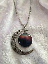 Crescent Moon Galaxy Pendant Necklace Gift Wicca Pagan Christmas Halloween Chain