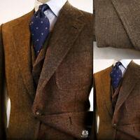 Brown Men Suits Wool Blend Herringbon Vintage Tweed Formal Tuxedos Blazer Pants