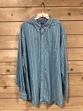 Chaps Mens Button Down Shirt Light Blue Striped Long Sleeve Size 3xlt