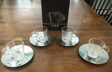 """NEW Nespresso View Collection """"Set of 4""""Espresso Cups & Stainless Steel Saucers"""