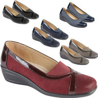 Ladies Faux Suede Leather Brogue Pumps Casual Office Work Slip On Shoes UK 3-8