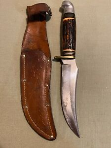 WESTERN KNIFE STAINLESS STEEL USA SHEATH FIXED BLADE VINTAGE HUNTING