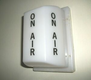 """Vintage 3 Sided Studio """"ON AIR"""" wall Light Cover - White with Black Letters"""
