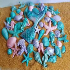 51 EDIBLE sugar SHELLS starfish CORALS mermaid TAIL cake topper DECORATIONS