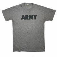Vtg Paper-Thin Thrashed Distressed Heather Grey Single Stitch ARMY T-Shirt XL