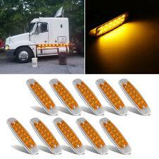 "10x 6.15"" Amber Cab Marker Light Clearance SS Bezel 12 Diodes For Freightliner"