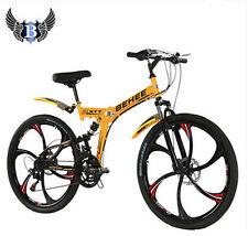 New 21 Speed Mountain Bike Folding Bicycle 26'' Wheel Full Suspension Disc Brake