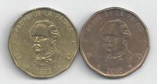 2 DIFFERENT 1 PESO COINS from the DOMINICAN REPUBLIC DATING 1992 & 2008