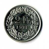 Moneda Suiza 1974 2 francos suizos coin Helvetia