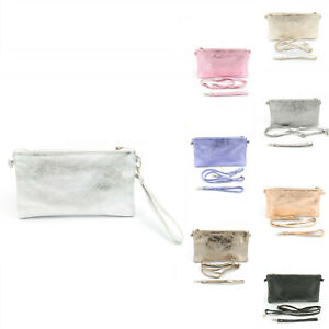 Real Leather Boutique Metallic Small Messenger Cross Body Bag Woman Lady UK
