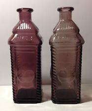 2 Purple glass 1960's apple juice bottles PHIL BERRINGS APPLE BITTER'S (empty)