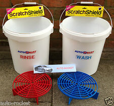 2 X Grit Guard Scratch Buckets and Shields With Autosmart Labels 20l Litre