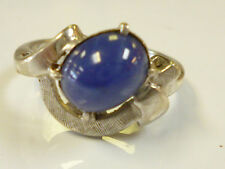 14K WHITE GOLD COCKTAIL RING WITH OVAL BLUE STONE SIZE 7.25