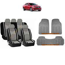 12PC GRAY MESH AIRBAG SEAT COVERS SPLIT BENCH & GRAY RUBBER MATS FOR CARS 3045
