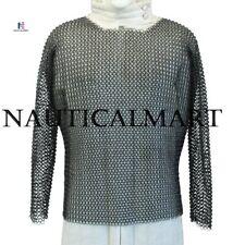 Knights Medieval Hauberk Full Sleeve Blackened Chainmail Large