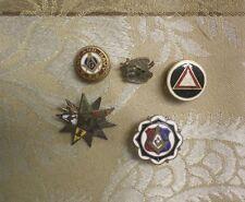 Group of 5 Vintage Masonic Masons Army Navy 10K & GF Gold Pin Backs Tie Tacks