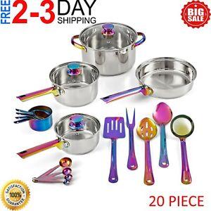 20-Piece Stainless Steel Cookware Set Pan Pot Lid Cooking Kitchen Utensils Set