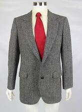 Harris Tweed Men 40L Herringbone 100% Scottish Wool Leather Button Blazer Jacket