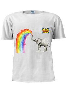 Baby Elephant T Shirt Spraying Rainbow Tshirt Men Women Unisex Trendy M495