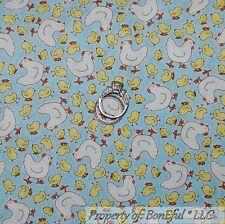 BonEful Fabric FQ Cotton Quilt Blue Yellow Hen Chicken Coop Chick Kitchen Easter
