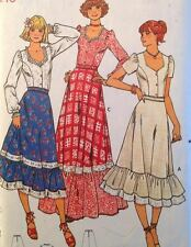 Vtg Butterick 6085 Sewing Pattern Boho Festival Maxi Skirt Ruffle Blouse Peasant