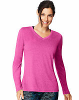 Hanes Women's Long-Sleeve V-Neck T-Shirt Performance Sport Cool DRI sizes S-2XL