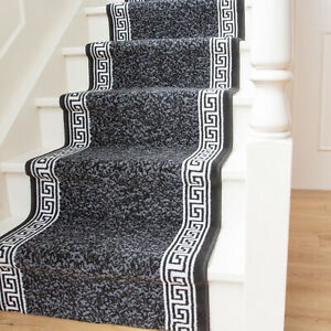 Long Traditional Flecked Stair Carpet Stairs Hallway  Black Runners Sold in Feet