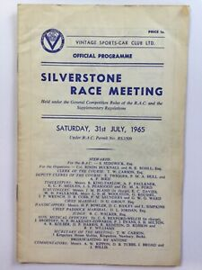 Silverstone Race Meeting July 1965 programme
