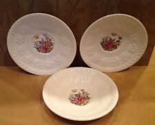 Three Antique Wedgwood Wellesley Saucers, England, Cream And Flowers