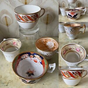 4 Early English china cups, Davenport, Spode, Minton, hand painted mixed pattern