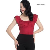 Hell Bunny Shirt Gypsy Shirt Top RIO 50s Frill Plain Red  All Sizes