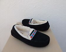 UGG BLACK ANSLEY EMBROIDERY SUEDE/ SHEEPSKIN MOCCASIN SLIPPERS, US 10/ 41 ~NIB