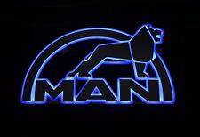 Big 3D Mirror 24V Sign LED Interior Light for all MAN Trucks 65 x 37 cm (blue)