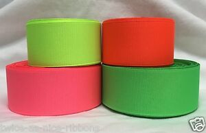 """5 YARDS 3/8"""" 7/8"""" 1.5"""" and 3"""" SOLID NEON GROSGRAIN RIBBON U PICK COLOR & SIZE"""