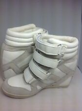 Urban Outfitters BDG Quarter Strap Hi Top Wedge Sneakers White Size 7