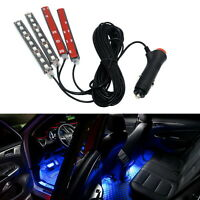 4X Car Interior 9 LED Strip Lights Atmosphere Ice Blue Decorative Lamp 12V