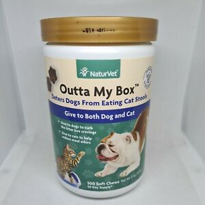 NaturVet – Outta My Box – 500 Soft Chews – Deters Dogs from Eating Cat Stools