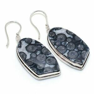 "Stingrey Coral Gemstone Handmade 925 Sterling Silver Jewelry Earring 2.05 "" J225"