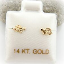 14K Solid Yellow Gold Cute Baby Turtle Screwback Baby Girl Children Earrings
