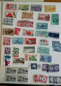 50 X USA Postage Stamps From Stockbook