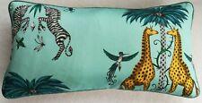 Emma J Shipley CREATURA TURQUOISE cushion FREE FEATHER PAD piped, 57cm x 29cm