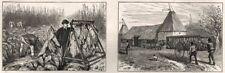 El cultivo del tabaco en Kent. puesta en escena la hoja; sequedad de cultivo en OAST House, impresión, 1886