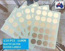 120 Pcs Matte Silver Colour Code Medium Round Labels Sticker Dots Spots 16 mm