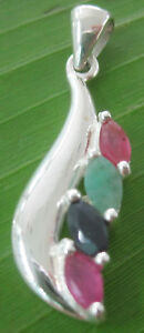 100% REAL925 sterling silver REAL STONE Ruby Sapphire Emerald PENDANT GIRL WOMEN