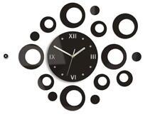 Modern Clock Wall Clock Ring Wenge in Black 55cm X 47cm